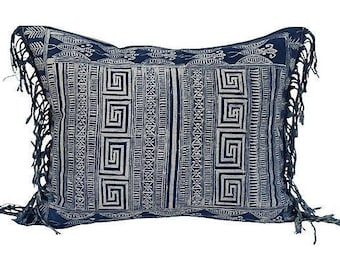 Indigo Chinese Blue & White Batik Fringed Textile Pillow