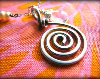 Spiral Energy Quartz Necklace - Energy Work Reiki Healing Touch - Sterling Silver - Gift Birthday Daughter Wife Mother Mom Sister Cousin