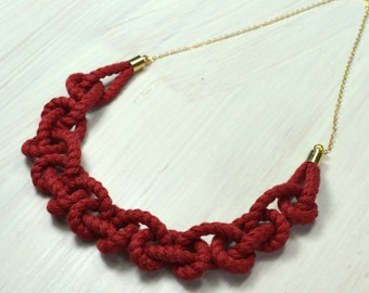 Red burgundy rope necklace.