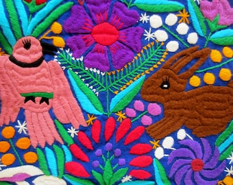 Mexican embroidered animal tapestry