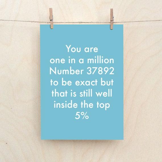 One In A Million Card, Funny love Card, Funny friend card,Rude Friend card