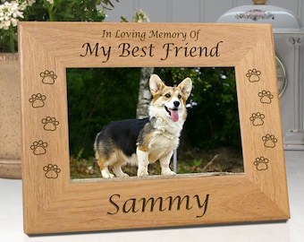 FREE SHIPPING - Personalized Dog Memorial Frames - My Best Friend or Our Best Friend - Free Sympathy Card - Fast Ship - Engraved Wood
