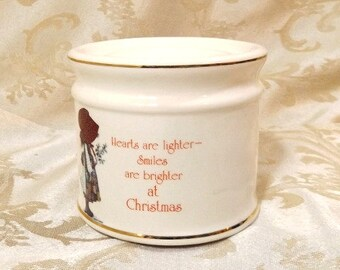 """Vintage 70s Holly Hobbie Ceramic Candle Holder Stand 3.25"""" H X 3.75"""" W made in Japan"""