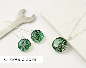 Circuit Board Necklace and Earring Set, Sterling Silver Jewelry, Wearable Technology, Engineer Gift, Techie Jewelry Set, Geek Chic Gift