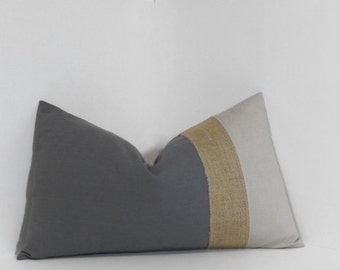 Colorblock neutrals & burlap pillow cover ~ lumbar pillow cover, burlap, grey, taupe accent throw pillow, home decor accent