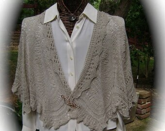 Silk Wool Lace Capelet in Taupe