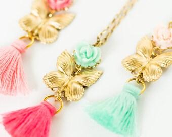 Girls Butterfly Tassel Necklace, Girls Rose Tassel necklace, Girls Jewelry