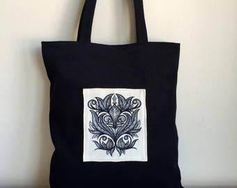 Black Canvas Tote Bag,Embroidered Bag,Boho Tote Bag,Black Canvas Tote,Canvas Purse,Black Shoulder Bag,Black Canvas Tote Bag,Everday Tote Bag