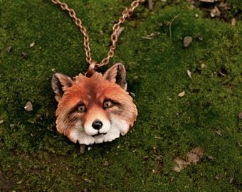 Fox Necklace Animal Totem Autumn necklace