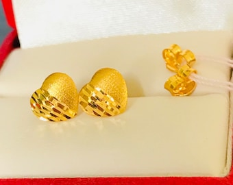 Solid 22k gold brushed hearts earstuds 916 gold earrings