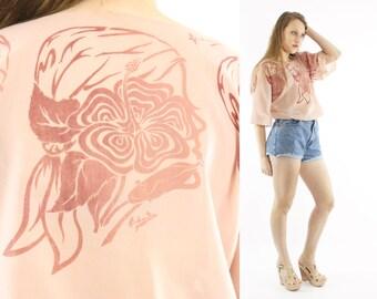 Vintage 70s Blouse Short Sleeve Shirt Pink Top Abstract Woman Hippie Boho Festival Fashion 1970s Medium M Large L
