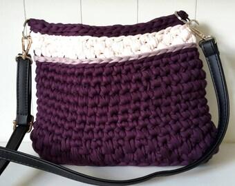 Violet and aubergine crochet shoulder bag