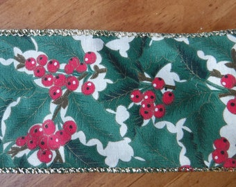 Green Holly Berry Wire Edge Ribbon 3 Yards