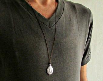 Drop Mens Necklace Pendant Silver Mens Necklace Pendant Adjustable