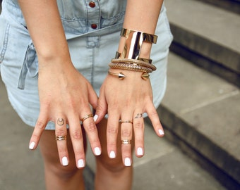 Love Double Knuckle ring - Gold ring Love double midi ring