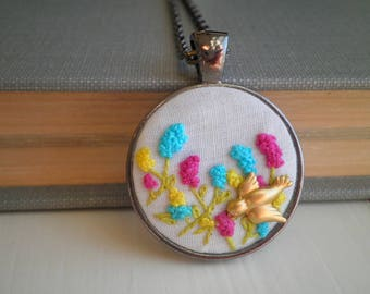 Mini Flower Garden & Tiny Bird Embroidery Necklace - Embroidered Wildflowers Necklace - Tiny Terrarium Floral Fiber Art Holiday Jewelry Gift