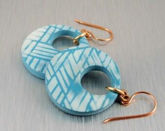 Aqua and White Polymer Clay Earrings - Aqua Blue Earrings - Aqua and White Earrings