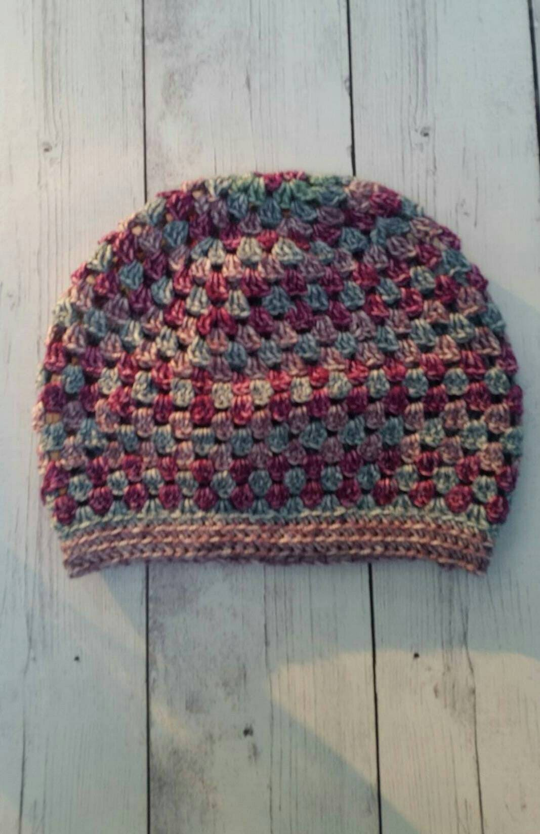 Vintage Look Slouchy Hat, Multi Colored Winter Crochet Beanie, Granny Hat, Hipster Beanie, Dreads Hat, Hippie Hat for Winter, Choose Colors