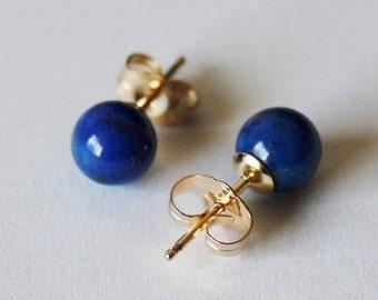 6mm Natural Blue lapis lazuli ball earring studs,  Gold post earrings, 14K Gold Filled, Something blue, lapis studs