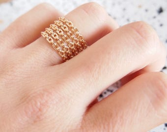 Ring gold plated MULTISTRAND 750 - gold plated ring