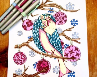 Adult Christmas Coloring Page Holiday Bird Ornaments Original Art Instant Download Design