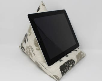 Tech Stand, iPad Pillow in Elephant Fabric, Tablet Cushion, Beanbag iPad Stand, Tech Gift, Teenager Gift, Elephant Gift, Useful Gift