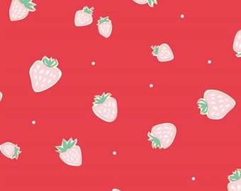 SALE!  - Birch Organic Strawberries Red - Birch Organic Fabrics