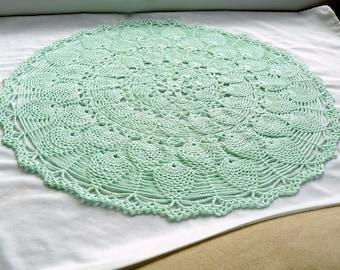 Round Crochet Doily -- Mint Green Rosette