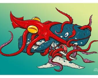 Squid Whale Hug 12 x 18 inch print