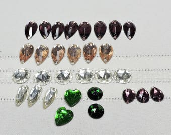 Vintage Rhinestones, Flat Back with holes to sew on