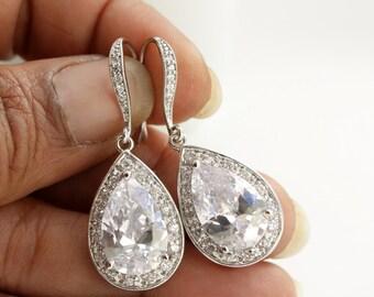 Bridal Dangle Earrings Crystal Bridesmaid Earrings Drop Wedding Earrings Teardrop Earrings Rose Gold Wedding Jewelry, Evelyn