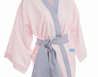 Kimono Moony in pink cotton and blue stripes