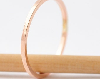 Rose Gold Bands: Square Edged Simple Ring, Cool Gifts Under 20