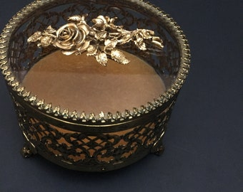 Vintage Gold Ormolu Round Footed Jewelry Casket
