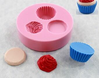 Kawaii Cupcake Mold Mould Resin Polymer Clay Wax Chocolate Fondant (321)