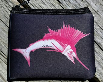 Pink Sailfish on deep Navy art Coin Purse zippered pouch neoprene