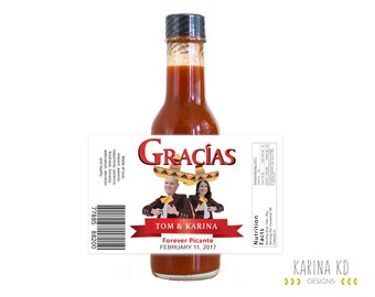 Mariachi Hot Sauce Label with Picture