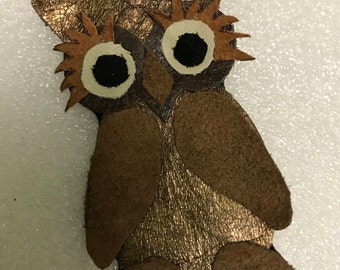 Handmade genuine leather brooch - owl, perfect birthday gift
