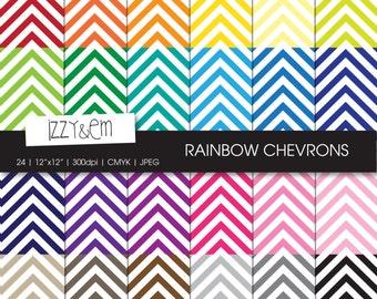 "Chevron Digital Paper Pack - Rainbow Chevron - Scrapbooking Paper - Digital Scrapbooking Supplies - Digital Paper - Printable Paper  12x12"""