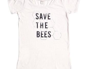 Organic Clothing - Save the Bees Shirt - Womens - Bamboo - Organic Cotton - xs S M L XL 2x - Clothing -Tshirt