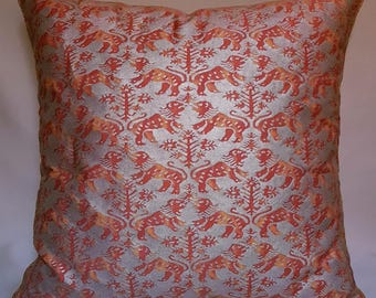 Fortuny Fabric Throw Pillow Cushion Cover in Bittersweet & Silvery Gold Richelieu Pattern - Made in Italy