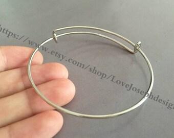 30pieces Adjustable 64mm silver Bangle Wire Bracelet Expandable Bangle Bracelets (#0166)