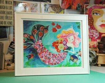 Mermaid Art Print. Giclee. Mermaid Wall Decor. 10x8.