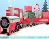 christmas train set - favor box and party centerpiece, holds candy canes, small gifts, cupcakes - printable PDF kit - INSTANT download