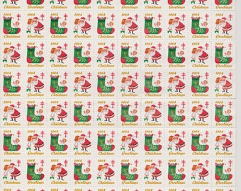 1964 Christmas Seals Issued by American Lung Association, Full sheet of 100 Seals, Little Girl and Santa, Vintage Ephemera
