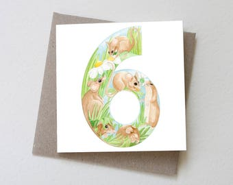 Six Mice // Number 6 Birthday Card, Sixth Birthday, Number 6 Birthday, Mouse Card, Age card, Greeting Card, Field Mice