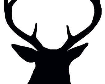 Black and White Buck Silhouette, Digital Download