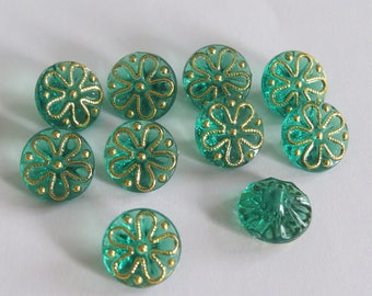 Beautiful button gold and green translucent flower pattern