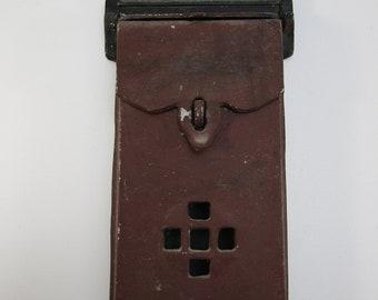 Vintage cast aluminum locking letter mailbox antique