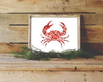 Crab Print, Nautical Nursery, Beach Home Decor, Ocean Decor, Kid's Room Decor, Red Decor, Crab Art, Instant Download, Crab Printable